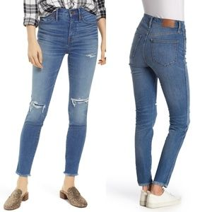 "NEW Madewell 10"" High Rise Raw Hem Jeans"